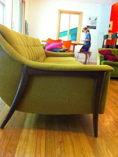 Vintage Danish Modern Long Floating Sofa by DUX by contentshome, $950.00