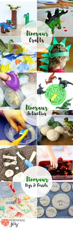 Dinosaur Toddler Activity Roundup! 12 activities to do with your dino loving child. Perfect for birthday parties, learning archaeology in homeschool, or fun sensory crafts to do with your child. www.perennialjoy.com