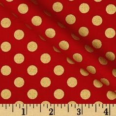 Kaufman Spot On Metallic Medium Dot Scarlet from @fabricdotcom  Designed by Studio RK for Robert Kaufman, this polka dot cotton print fabric is perfect for quilting, apparel, crafts, and home decor items. Features gold metallic dots printed throughout.