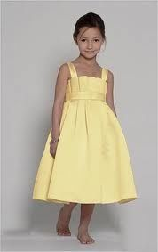 Yellow flower girl dress.