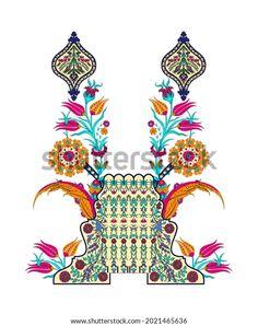 Digital Textile Design Motif Botanical Flower Stock Illustration 2021465636
