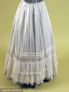 White Cotton & Lace Petticoat, 1834, Augusta Auctions, May 2008 Vintage Fashion & Antique Textile Sale, Lot 460