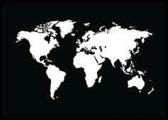 Black / white graphic poster with world map. Popular print that do just fine in most interior styles. In our category maps and cities are more similar prints and posters! www.desenio.com
