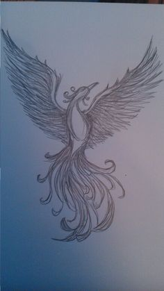 Phoenix. I think this might be my favorite one. The bird well drawn, looking and soaring upward. I think I'd incorporate some flames near the tail and some general color to the piece.