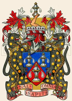 The coat of arms of the Worshipful Company of Salters, one of London's great twelve livery companies, which was first licensed by Richard II in 1394