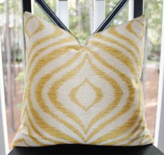 Decorative Pillow Cover - 18 x 18 Yellow Gold Ivory Geometric Pillow Cover - Throw Pillow