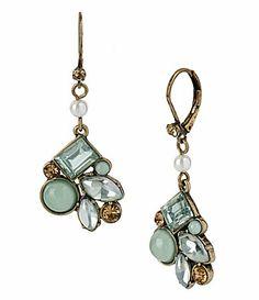 Betsey Johnson Crystal Gem Cluster Drop Earrings #Dillards