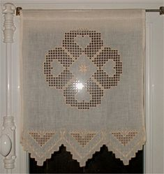 Risultati immagini per hardanger curtains Hardanger Embroidery, Embroidery Applique, Crochet Square Patterns, Cross Stitch Patterns, Drawn Thread, Bargello, Fiber Art, Needlework, Diy And Crafts