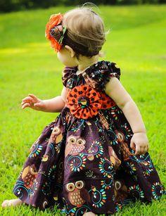 Girls Fall Orange and Brown Hoot Owl Peasant dress, Owl Dress, Girls Owl Dress
