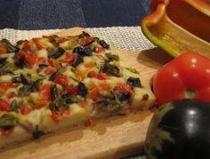Focaccia de Berinjela com Pimentão Vermelho sem Glúten, sem Lactose e sem Ovos, no Blog  Cozinha de Perséfone. #semglúten #semlactose #vegetariano
