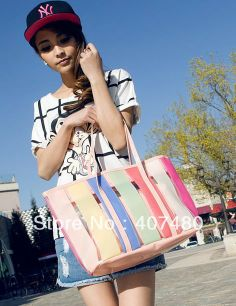 jelly clear beach sweet patchwork rainbow totes shoulder bag sling Handbag Designer women Lady girl's Fashion wholesale retail $26.51