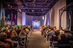 Our Planet Our Universe exhibit with SWAG decor drape for wedding ceremony at Orlando Science Center #museumwedding