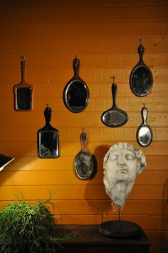 collection of 7 wooden mirrors  c.1900