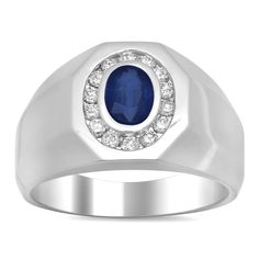 Chantal 14k White Gold 2/5ct TDW Diamond and 1ct TGW Sapphire Ring (E-F, SI1-SI2) (Size 10), Women's, Blue