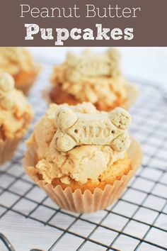 Peanut Butter Pupcakes - your pup deserves a treat! Dog-friendly peanut butter carrot cupcakes with a peanut butter frosting and a bone on top! Dog Frosting Recipe, Cupcakes For Dogs Recipe, Dog Cake Recipes, Dog Cupcakes, Dog Treat Recipes, Frosting Recipes, Dog Food Recipes, Dog Treat Icing Recipe, Daisy Cupcakes