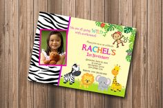 Jungle Zoo Safari Theme Giraffe Monkey Zebra Lion Elephant Girl Birthday Party - DIY Personalized Printable Invitation on Etsy, $10.00