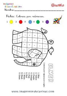 Elmer Elefante atención y grafo (3) Orange And Purple, Pink Purple, Elmer The Elephants, Color Unit, Elephant Crafts, Math Sheets, Shape Books, Alphabet Crafts, Little Monkeys