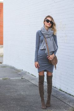 Ruched Body Conscious Dress : Fall Layering