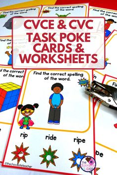 Teaching phonics strategies and skills can be fun and engaging with these CVCe and CVC short vowel task card activities! This long and short vowel set includes interactive poke cards, printables, and more! It's perfect for your kindergarten, 1st, and 2nd grade students and it makes great word work stations, literacy centers, and more! Students will focus on CCSS.RF.1.3c, CCSS.RF.1.3b, CCSS.RF.1.3, CCSS.RF.1.2d, and CCSS.RF.1.2c standards all while having fun! Download these task cards today! Vowel Activities, Grammar Activities, Teaching Phonics, Word Work Stations, Cvce Words, English Language Learners, Word Study, Great Words, Task Cards