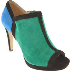 Anne Klein - Yamila Women`s - Green Multi Suede.  Yamila is a daring and stylish open toe high heel color block dress shoe. $79.45