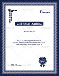 Elegant Certificate Of Excellence Excellence Certificatetemplate