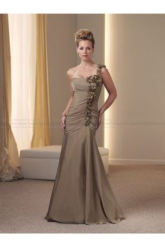 A-line One Shoulder Brown Hand-Made Flower Chiffon Sleeveless Floor-length Mother of the Bride Dress