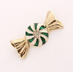 Christmas Candy Brooch Gold Green Crystal Candy by PinkFoxFindings