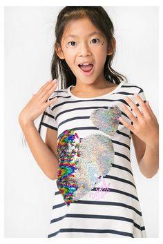 Gestreiftes T-Shirt mit Pailletten für Mädchen | Desigual.com B