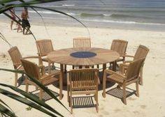 Hawaiian - 8 Seater Teak and Granite Lazy Susan Round Set