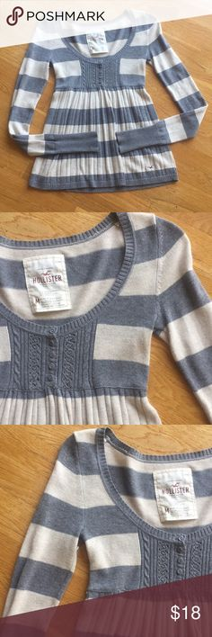 Hollister Sweater Hollister Sweater in Grey and Ivory Strip. Very Pretty!  New Condition! Hollister Sweaters