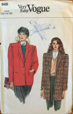 Belt and Pants      Sewing Pattern Butterick 4666 Misses/' Coat