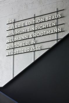 signage system for Aufbau Haus, Berlin by Moniteurs Signage Display, Signage Design, Typography Design, Brewery Design, Bauhaus, Metal Signage, Wayfinding Signage, Industrial Signage, Directional Signage