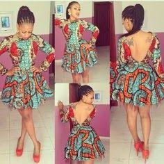 V-back Ankara dress ~African fashion, Ankara, kitenge, African women dresses… African Inspired Fashion, African Print Fashion, Africa Fashion, Fashion Prints, Fashion Design, African Attire, African Wear, African Women, African Beauty