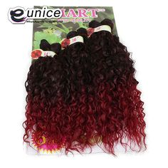 Ombre Synthetic Jerry Curl Weave Two Tone 1b/BUG Curly Weave Synthetic Hair Extensions 6PCS/lot