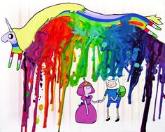 Adventure Time Inspired Art Print  - Finn and Bubblegum - Lady Rainicorn -  Crayon Art - Melted. $18.00, via Etsy.