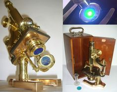 GORGEOUS 1907 ANTIQUE SPENCER JUGHANDLE MICROSCOPE SET w/ CASE & KEY vintage #SPENCER