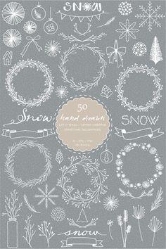 50 Hand Drawn Let It Snow Digital Clip Art-Winter | Etsy