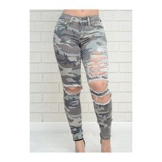 Rotita Zipper Fly Camouflage Ankle Length Pants ($23) ❤ liked on Polyvore featuring pants, army green, camo pants, skinny camo pants, olive pants, camouflage pants and ankle jeans
