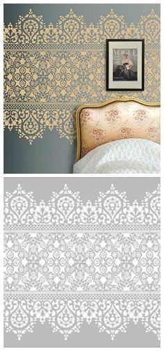Cheap Home Decor Wall stencil lace wall stencil More.Cheap Home Decor Wall stencil lace wall stencil Bedroom Wallpaper Neutral, Bathroom Wallpaper, Lace Stencil, Wall Stenciling, Stencil Wall Art, Stencil Diy, Wall Stencil Patterns, Lace Patterns, Pattern Ideas