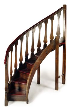SET OF OAK SPIRAL LIBRARY STAIRS Sold For £1800