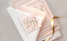 Pink and Gold Foil Wedding Invitations by Daily Sip Studios via Oh So Beautiful Paper (7)