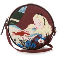 Olympia Le-Tan Dizzie Sleeping Alice cross-body bag (€760) ❤ liked on Polyvore featuring bags, handbags, shoulder bags, long cross body purses, woven handbag, crossbody purse, red shoulder bag and red handbags