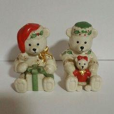 Brand-New-Without-Box-Lenox-Christmas-Bears-Salt-and-Pepper-Shaker-Set