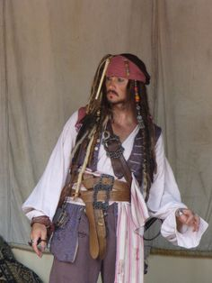 Jack Sparrow on The Pirates of the Caribbean ride (apparently with the lights on, the background isn't nearly as cool looking)