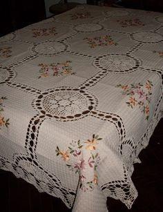 Manteles En Crochet Y Tela Rústica Bordado En Cinta - $ 1.000,00 ...