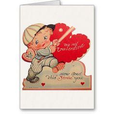 Vintage Baseball Valentine's Day Card