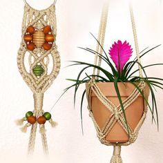 Macrame Hanging Planter 6 Inch Flower Pot by LittleMarvelDesigns