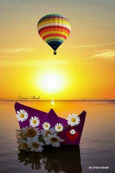 By Omran Aboali - google+ Beautiful Roses, Beautiful Places, Beautiful Pictures, Good Morning Arabic, Moon Images, Amazing Sunsets, Hot Air Balloon, Pretty Face, Love Heart