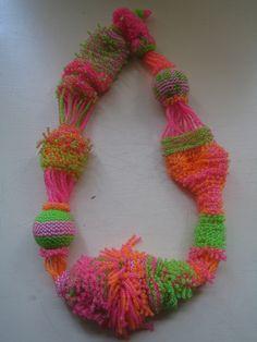 wool felt crochet necklace bib collar statement neon yarn textile