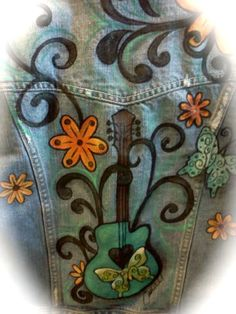 Hand painted denim jacket......reminds me of my own creations <3